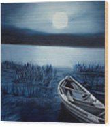 Moonlight On The River Wood Print