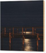 Moonlight On Water Wood Print