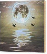 Moonlight On Water Wood Print