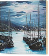 Moonlight Over Port Of Spain Wood Print