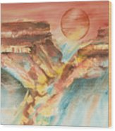 Moonlight Over The Grand Canyon Wood Print