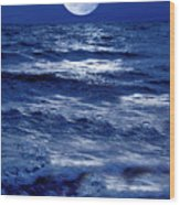 Moonlight Over The Ocean Wood Print by Christian Lagereek