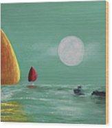 Moonlight Sailnata Wood Print