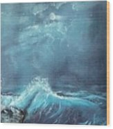 Moonlight Surf Wood Print