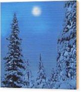 Moonlight  Through The Twilight Haze Wood Print