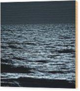 Moonlight Waves Wood Print