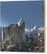 Moonlit Bridalveil  Falls-yosemite Valley Wood Print