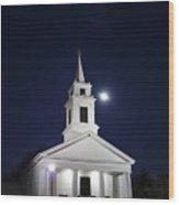 Moonlit Church Wood Print