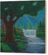 Moonlit Falls Wood Print