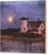 Moonlit Harbor Wood Print