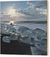 Moonlit Ice Beach Wood Print