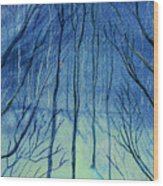Moonlit In Blue Wood Print