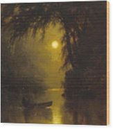 Moonlit Landscape Wood Print