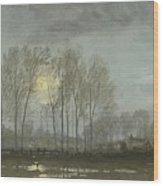 Moonlit Landscape Wood Print