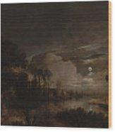 Moonlit Landscape With A View Wood Print