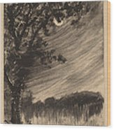 Moonlit Landscape With Tree At The Left Wood Print