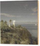 Moonlit Lighthouse Wood Print