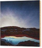 Moonlit Mesa Wood Print
