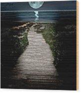 Moonlit Night At The Beach Wood Print