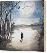 Moonlit Night Sweet Memory Wood Print
