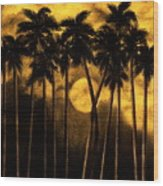 Moonlit Palm Trees In Yellow Wood Print