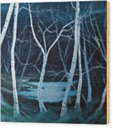 Moonlit Pond Wood Print