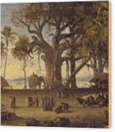 Moonlit Scene Of Indian Figures And Elephants Among Banyan Trees Wood Print
