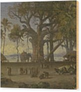 Moonlit Scene Of Indian Figures And Elephants Among Banyan Trees. Upper India Wood Print