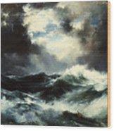 Moonlit Shipwreck At Sea Wood Print