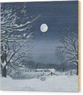 Moonlit Snowy Scene On The Farm Wood Print