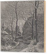 Moonlit Stroll In Winter Wood Print