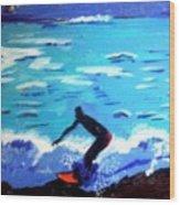 Moonlit Surf Wood Print