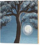 Moonlit Tree Wood Print