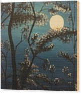 Moonlit Trees Wood Print