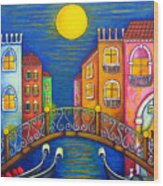 Moonlit Venice Wood Print