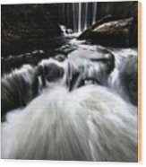 Moonlit Waterfall Wood Print
