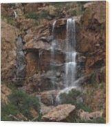 Moonlit Waterfall Wood Print