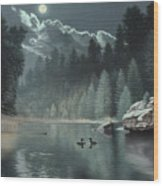 Moonlit Waters-loons Wood Print