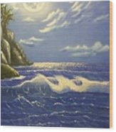 Moonlit Wave Wood Print