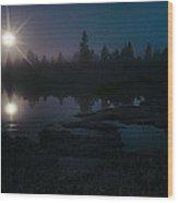 Moonlit Wetland Wood Print