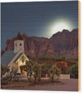 Moonrise At Superstition Mountain Wood Print