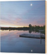 Moonrise At The Fishing Pond Wood Print