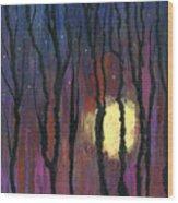 Moonrise In December Wood Print