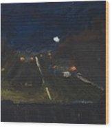 Moonrise On The Road Wood Print