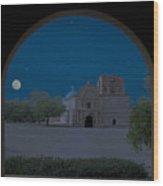 Moonrise On Tumacacori Mission Wood Print