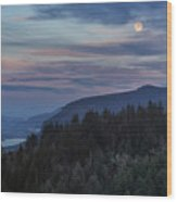 Moonrise Over Crown Point Wood Print