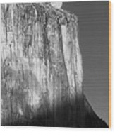 M-m6506-e-bw-moonrise Over El Capitan At Sunset  Wood Print
