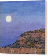 Moonrise Over Gallup Wood Print