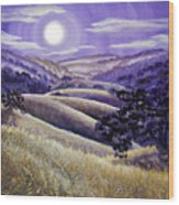 Moonrise Over Monte Bello Wood Print