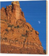Moonrise Over Red Rock Wood Print by Mike  Dawson